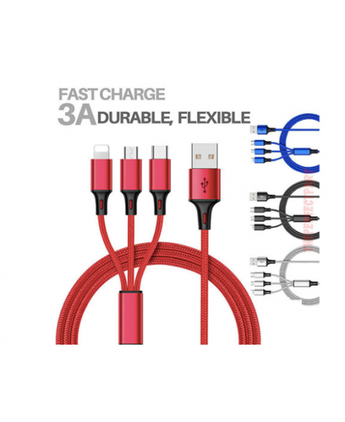 50 pieces of 1.2M 3A Cable 3 in 1 For Micro USB TYPE cables