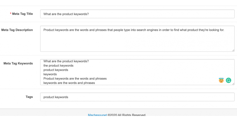 What are the product keywords?